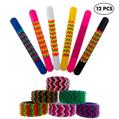 Slap Bracelets for Kids Boys Girls 12 Pieces Pack - Silicone Spiky Snap Wristbands for Fidget and Sensory - Great Party Favors, Treasure Box Prizes, Teacher Rewards, Stocking Stuffers -