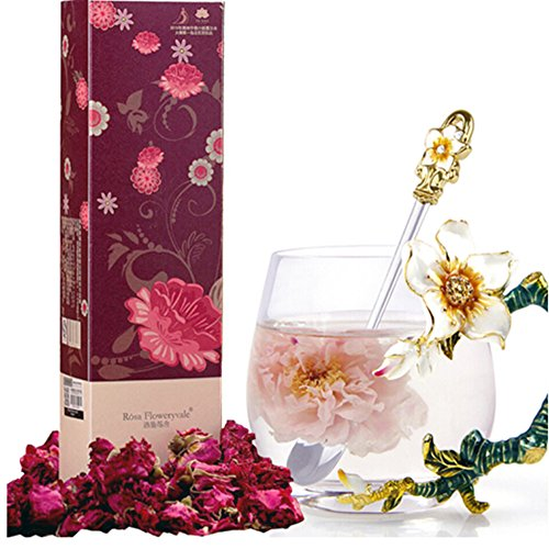 (Rósa Floweryvale Rose Tea+ Big Box, Blooming Flower Tea Rose Flower Tea with Maximum Essential Oil, Big Box, 30g for one Month Consumption )