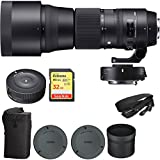 Sigma 150-600mm F5-6.3 Contemporary Lens and TC-1401 1.4X Teleconverter Kit for Nikon (ZB955) with Sigma USB Dock for Nikon Lens & SanDisk 32GB Extreme SD Memory UHS-I Card w/ 90/60MB/s Read/Write