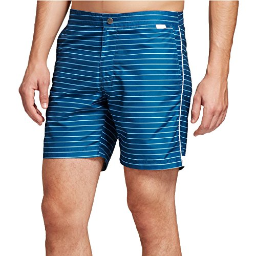 Ibiza Ocean Club Mens Swim Trunks (34, Horizontal Stripe Blue)