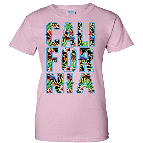 Tropical California Floral Print Ladies T-Shirt - Light Pink X-Large