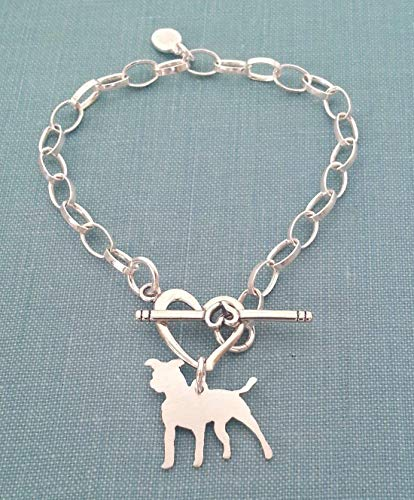 925 Sterling Silver Standing Pitbull Terrier Dog Chain Bracelet w/Heart Toggle Pet Memorial Jewelry - Standing Portrait