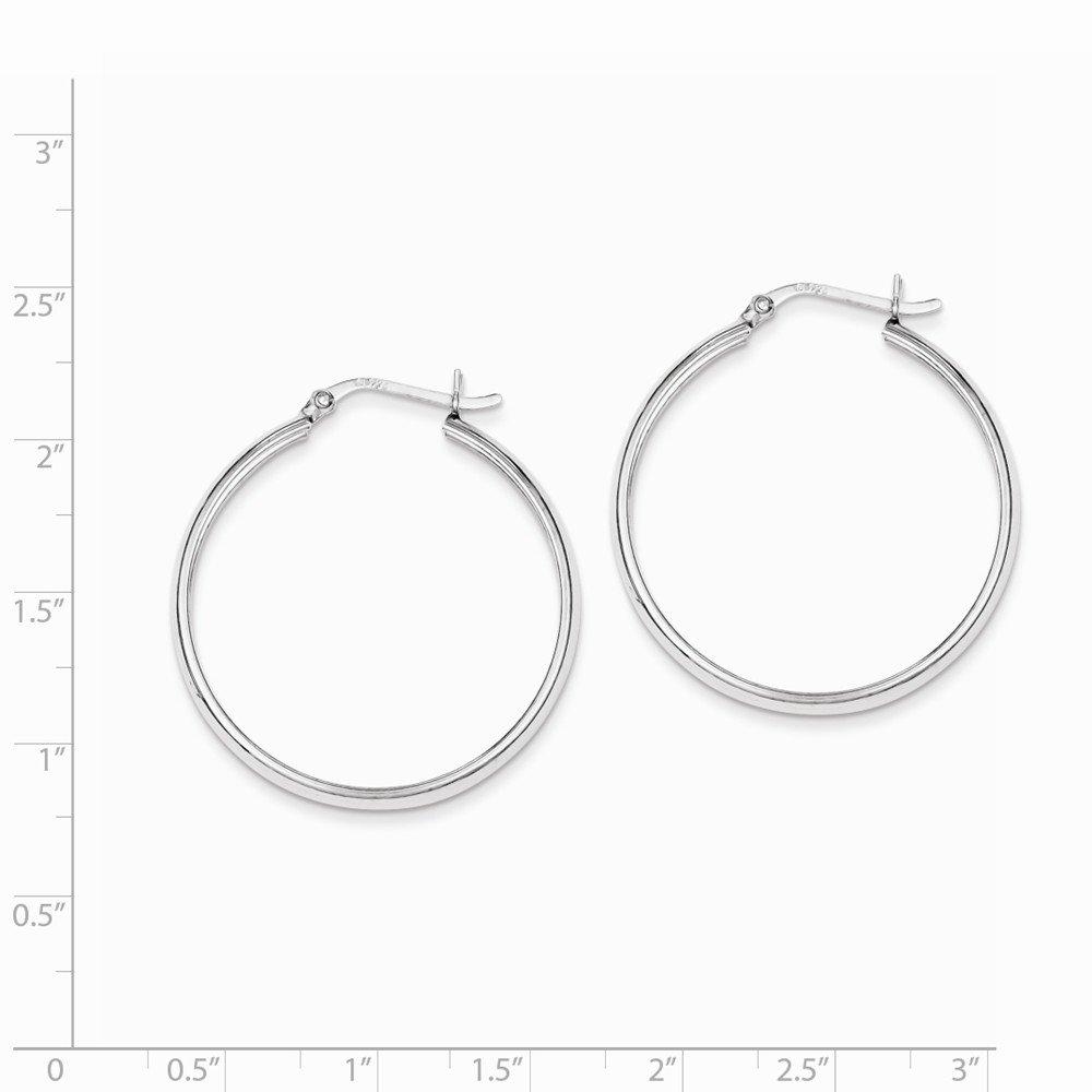 925 Sterling Silver 4mm x 34 Hoop Earrings