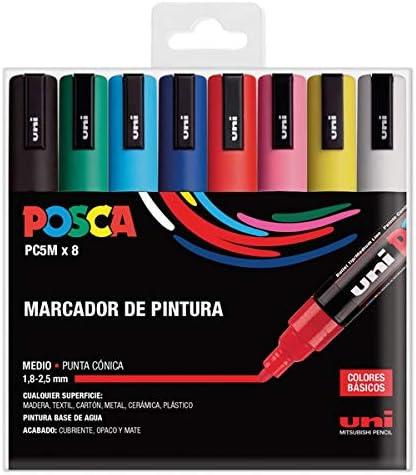 UNI Posca Set PC 5M Basic - Pack 8 rotuladores: Amazon.es: Oficina y papelería