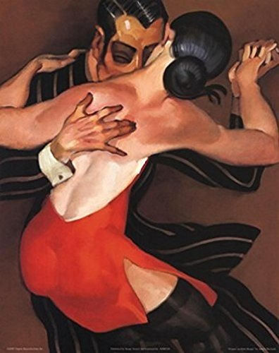 Buyartforless Femme au Robe Rouge by Juarez Machado 20x16 Art Print Poster Woman in Red Dress Dance Tango Romance Passion Music Sexuality