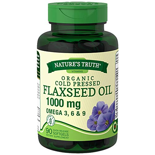 Nature's Truth Organic Cold Pressed Flaxseed Oil 1000 mg Omega 3, 6 & 9 Quick Release Softgels - 90 ct, Pack of 6 by Nature's Truth