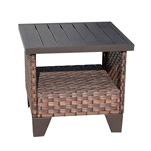 SUNSITT Outdoor Square Side/End Table with Aluminum Slatted Top, Brown Rattan Wicker Accent Table