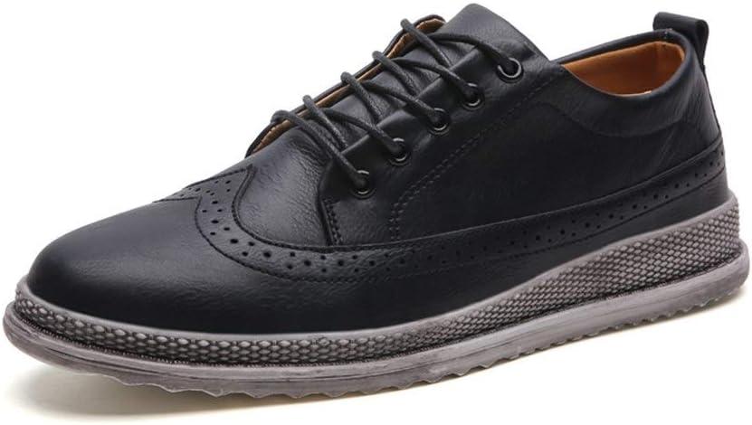 HONG YI-SHOES Zapatos de Vestir de los Hombres Zapatos Oxford de Hombre for Zapatos Brogue con Cordones Estilo Microfibra de Cuero Punta Redonda clásico Grabado Zapatos Oxford duraderos
