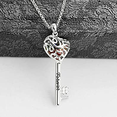 Getname Necklace Custom No.1 Mom Heart Cage Key Name Necklace with Birthstones 925 Sterling Silver Mothers Day Pendants Gifts