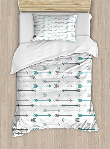 Ambesonne Teal Duvet Cover Set Twin Size, Retro Arrow Pattern in Horizontal Line Heading to Opposite Directions Art Theme Print, A Decorative 2 Piece Bedding Set with 1 Pillow Sham, Grey Teal White