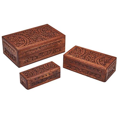 Valentine's Day Gift Decorative Wooden Set of 3 Jewelry Box Trinket Organizer Keepsake Box Multipurpose Accessories Collectible Storage - Mango Wood (1)