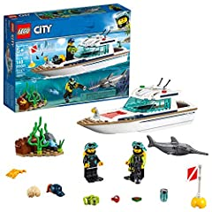 Explore the underwater world with the LEGO City 60221 Diving Yacht! This awesome luxury Diving Yacht features a sun deck, removable roof, turning searchlight and storage/sleeping space inside, plus a sea floor scene with seaweed and an openin...