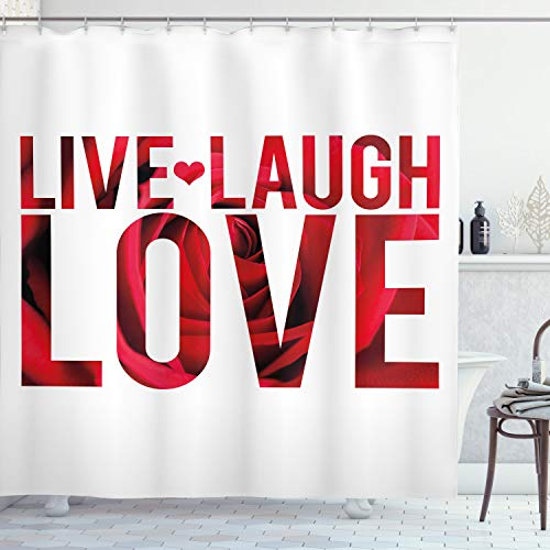 Ambesonne Live Laugh Love Shower Curtain, Typographic Montage Words with Macro Rose Petals Texture Print, Cloth Fabric Bathroom Decor Set with Hooks, 70