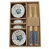 Genmine Ceramics Sushi Plate Saucer Set Kit for 2 Japanese Floral Tableware Dinnerware Set for Two in Gift Box