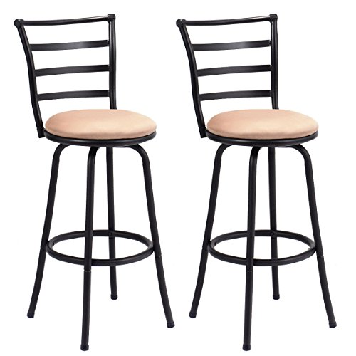 2 pcs of Bar Stools Swivel Counter Height Modern Barstool Pub Chairs Set Steel (Tall Acrylic Canopy)