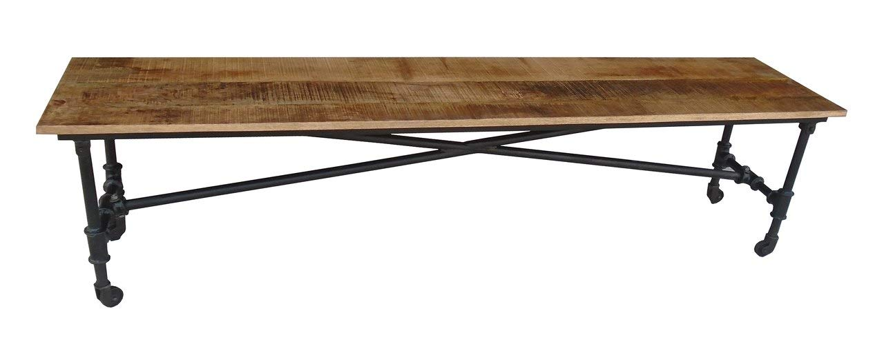 Timbergirl AA1318BE Reclaimed Wheels Solid Wood Bench Brown