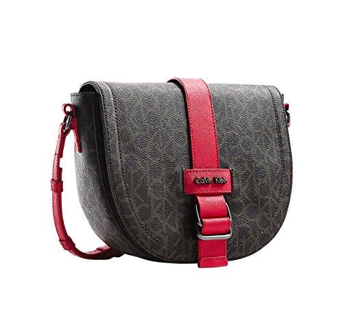 Calvin Klein Womens Jordan Saddle Crossbody Bag (Brown with Red Trim) by Calvin Klein