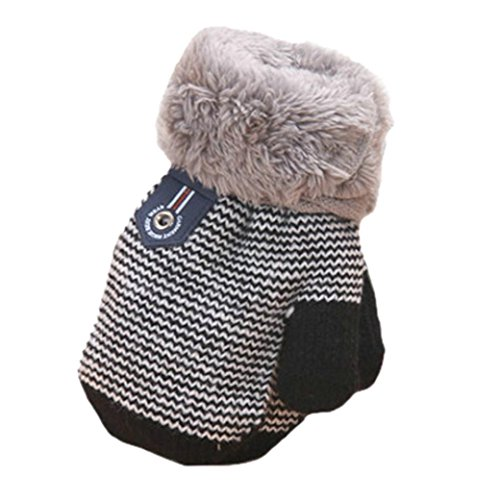 Amiley Infant Baby Girls Boys Warm Knitted Gloves Thick Fur Liner Mittens Winter (Black)