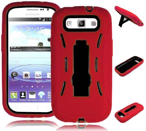 Bastex Heavy Duty Hybrid Case for Samsung Galaxy S3 III i9300 i747 - Red Silicone/Black Hard Kickstand Shell