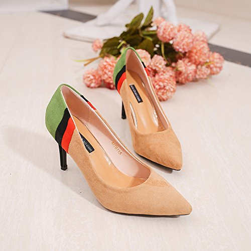 with Wild Beige yalanshop High The Bold 38 with Satin Heel Light Colored Tip Shoes of HBHpf