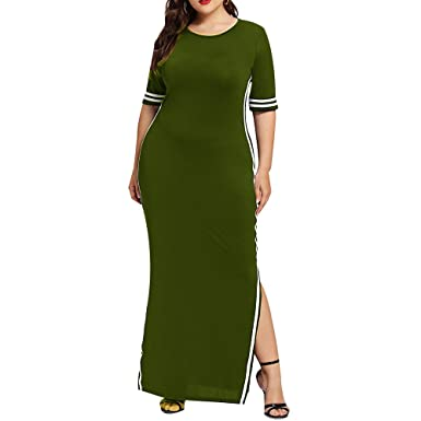 7f4989b9477f Damen Kleider T-Shirt Kleid Kurzarmkleid Hülsen Strandkleid Lose Einfache  Einfarbig Streifen Maxi Kleidet Beiläufige