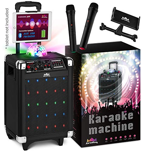 Karaoke Machine for Kids & Adults - 2019 New Wireless Microphone Speaker with Disco Ball, 2 Wireless Bluetooth Microphones, Free Phone/Tablet Holder - Karaoke Bluetooth Toys for Kids by KaraoKing (Best Karaoke Machine With Auto Tune)