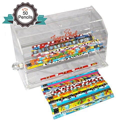 Tiger Chef Top Quality Clear Acrylic Pencil dispenser includes 50 Assorted Designs #2 Lead Pencils