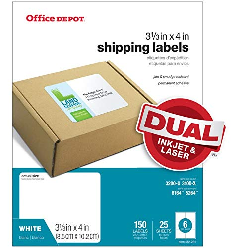 Office Depot White Inkjet/Laser Shipping Labels, 3 1/3in. x 4in, Pack of 150, 505-O004-0009