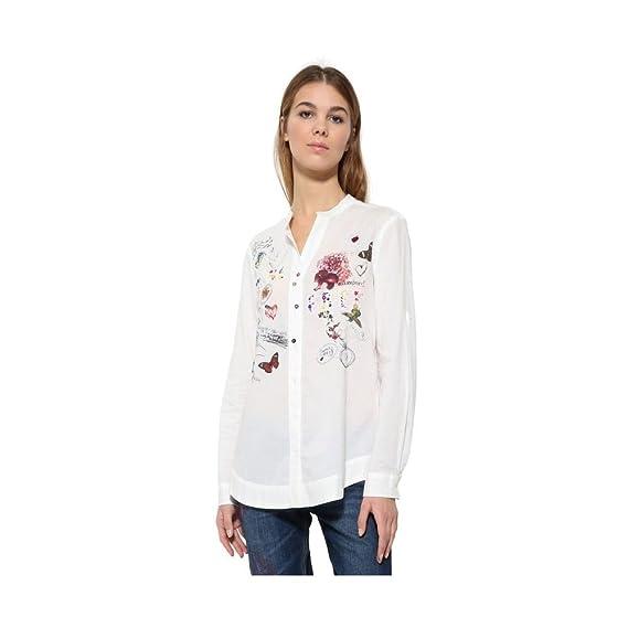 Desigual - Camisas - Manga Larga - para Mujer Blanco Blanco Small: Amazon.es: Ropa y accesorios