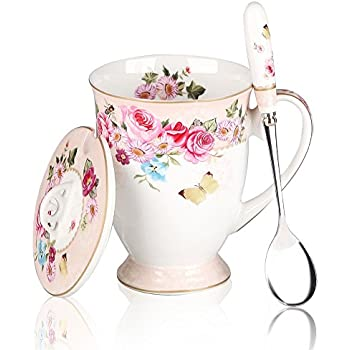 awhome royal fine bone china coffee mugs spoon and lid tea cup giftpink