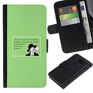 Billetera de Cuero Caso Titular de la tarjeta Carcasa Funda para Samsung Galaxy S6 SM-G920 / Dating Advice Funny Quote Online Love / STRONG