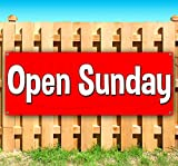 OPEN SUNDAY 13 oz heavy duty vinyl banner sign with metal grommets, new, store, advertising, flag, (many sizes available)