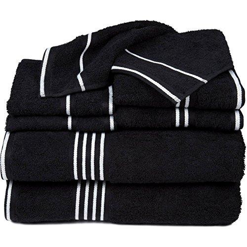 6 Piece Black White Solid Color Towel Set With 27 X 53 Inches Bath Towels, Jet Black White Milk Stripe Plush Soft Absorbent Luxurious Elegant Comfortable Gorgeous, Egyptian Cotton