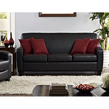 Contemporary Faux Leather Sofa, Elegant And Functional Upholstered In Black  Faux Leather, Thick,