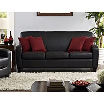 Amazon.com: Mainstays Faux Leather Sofa | Padded Seat ...