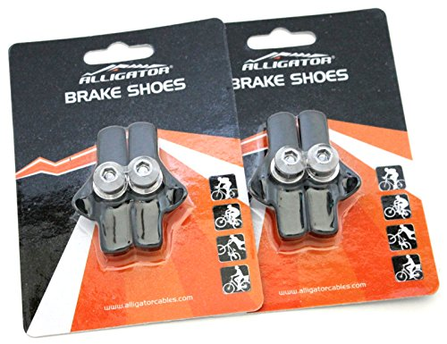 Cable Brake Campy (Alligator Bike Road Brake Cartridge Compatible Shoes Pads with Campy Campagnolo Brake (2 Pair), Black)