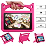 Mr. Spades - All New Fire HD 8 Tablet Leather Case (8th/7th Generation, 2018 and 2017 Release), [Corner Protection] Anti Slip Shockproof Light Weight Kids Friendly Protective Case - PINK