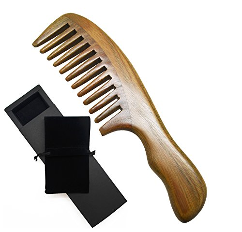 Meta-C Natural Wooden Comb Green Sandalwood Comb - NO SNAGS, NO TANGLE, NO STATIC - Wide Teeth for Thick Hair - Ergonomic Wave Handle