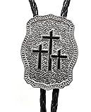 Three Crosses Silver-tone Enamel Pewter Religious Bolo Tie