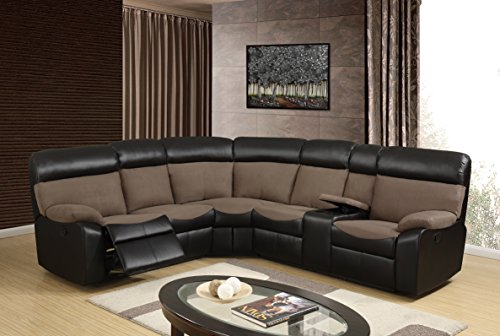 Global Furniture U1399 – SECTIONAL Sectional, Light Chocolate/Dark Brown