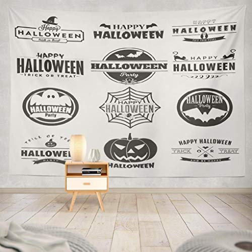 Hdmly Happy Halloween Tapestry Wall Hanging Decor, Decorative Wall Tapestry Happy Halloween Collection Twelve Dark Vintage Style 60