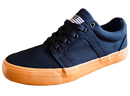 KIKZ USA Mens Casual Athletic Skate Shoe, Rhodez Model, Black Gums with Extra Foam Insole. (Girls Casual Skate Shoe)