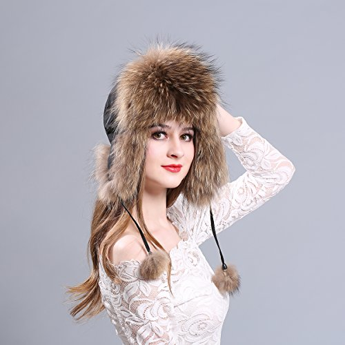 166a7000c671a LITHER Women s Winter Trapper Hat Genuine Raccoon Fur Russian Ushanka Hat  by LITHER (Image