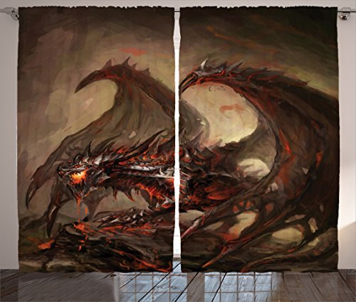 Ambesonne Dragon Curtains, Majestic Molten Demonic Armored Dragon on Inferno Rocks Hot Hell Dirty Print, Living Room Bedroom Window Drapes 2 Panel Set, 108 W X 84 L Inches, Red and Brown ()