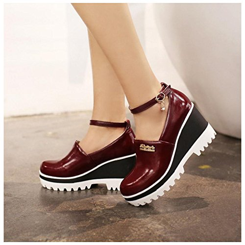 Court Red Women's Heel Wedge Shoes TAOFFEN 40Fpf