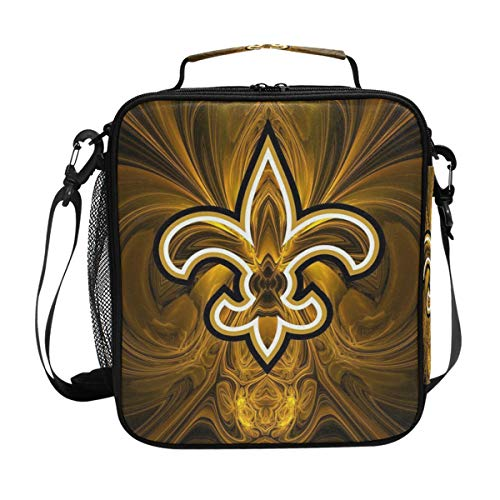 (Square Lunch Box New Orleans Saints Primary Fine Bead Canvas Lunch Tote Bag Reusable Lunch Box with Zip Closure Cooler Bag for Adult Work Picnic Fishing Camping)