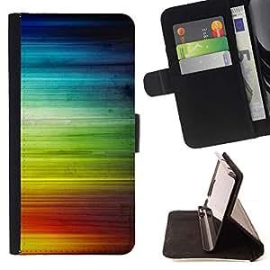 Momo Phone Case / Flip Funda de Cuero Case Cover - Rainbow Stripes ondas de colores Derechos LGBT - HTC One M9