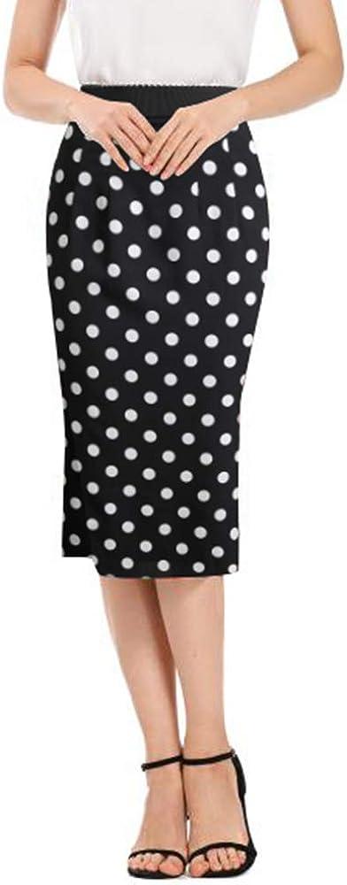 PYW Women's High Waist Stretch Bodycon Knee Office Print Pencil Silk Satin Stretch Skirt