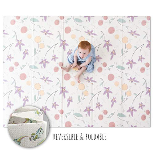 """JumpOff Jo - Large Waterproof Foam Padded Play Mat for Infants, Babies, Toddlers, 8+ Months - for Play & Tummy Time - 76 in. x 58 in. - Double-Sided Design: """"Magical Friends"""" Fairy Blossoms"""
