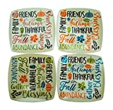 Thanksgiving/Fall Harvest Melamine Plates -Set of 4 Square - Unbreakable - Serving, Appetizer, Dessert, Kids, Holiday Tableware, Luncheon, Dinner, or Sides- Designed with Autumn Leaves